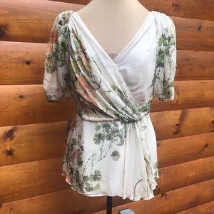 Alberta Ferretti Floral Semi Sheer Silk Top